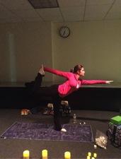 Yoga instructor Jenn doing a basic balance pose